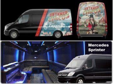 Mercedes Sprinter Las Vegas Event Rentals with Graphics